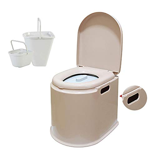 XIHAA Mobile Toilette Anti-Rutsch-Schwangere Frauen Toilette ältere tragbare geduldige Erwachsene Kommode, ältere Schwangere Frauen bewegliche Erwachsene Haushalts-tragbare Kommode,KhakiC