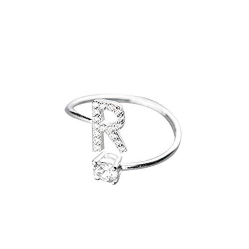 UINGKID Schmuck Damen Ring Modische und einfache Öffnung 26 Buchstaben mit Diamant Ring Damen Schmuck (Womens Zelda Kostüm)