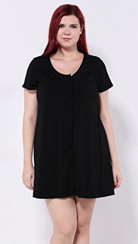 Smile YKK Femme Plus Size Robe Chemise Uni Elégante Moulante Grosse Taille Noir