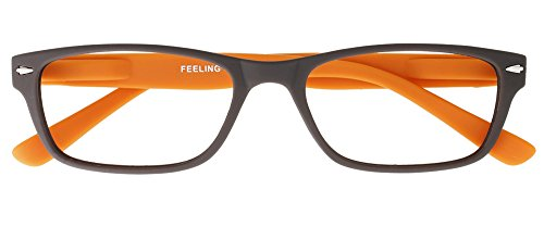 I NEED YOU Lesebrille Feeling, +3.00 Dioptrien, braun-orange