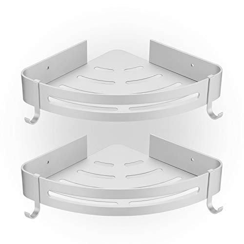 HBselect 2 Pack Duschregal Ecke ohne Bohren Duschablage mit 2 Haken Aluminium Duschkorb rostfrei Wasserdicht Badzimmer Küche silbern - - Ecke