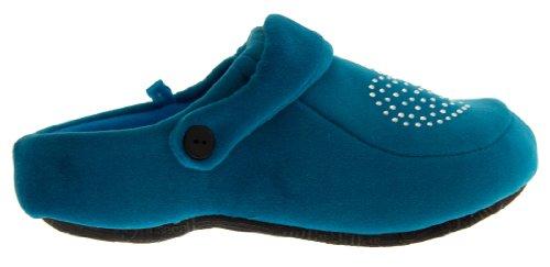 Footwear Studio Blaugrün Diamante Damen Aqua Hausschuhe 4Cdr46
