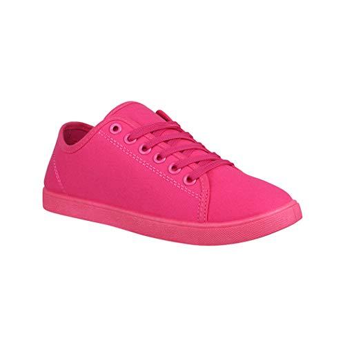 Elara Basic Sneakers | Sportlich Bequeme Turnschuhe | Low Schnürer | chunkyrayan CL33319 Fuchsia-39 Fuchsia Damen Schuhe
