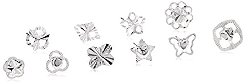 20 Pairs of 925 Sterling Silver Women's Stud Earrings by Kurtzy - Variety of Designs Included in Storage Case - Suitable for Daytime and Evening Wear - Perfect for Girls or