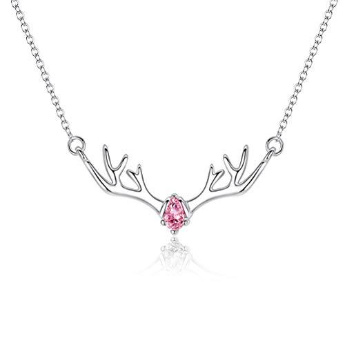 Opplei Halsketten Choker Schlüsselbein Halskette Kette 925 Sterling Silber Halskette Mit Diamanten Elk Schmuck Accessary Wunderschön Einstellbar Exquisit für Freundin Mädchen Frauen