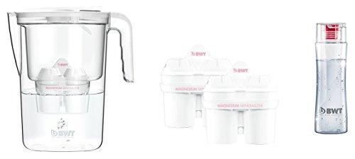 BWT 815487 Tischwasserfilter Vida 2,6l weiß mit 3 Kartuschen Magnesium Mineralizer für 3x 120l gefiltertes Leitungswasser und Trinkflasche
