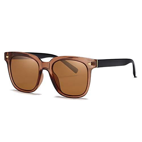 Easy Go Shopping Frauen-klassischer Retro Designer-Art-großer Rahmen-UVschutzVintage runde Sonnenbrille für Sonnenbrillen und Flacher Spiegel (Color : Braun, Size : Kostenlos)