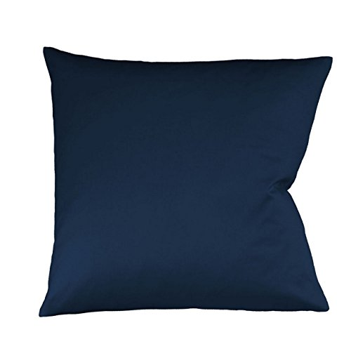 Fleuresse Mako-Satin-Kissenbezug uni colours nachtblau 6544 Größe 40 x 80 cm thumbnail