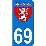Autocollant 69 avec blason Lyon plaque immatriculation Auto (9,8 x 4,5 cm)