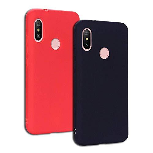 EuCase 2X Funda Xiaomi Redmi S2 Silicona Carcasa Redmi Y2 Antigolpes Suave TPU Flexible Goma Mate Ultra Delgada Goma Color Cubierta Protector Bumper Case para Caja Tapa Carcasa Negro Rojo