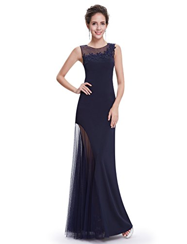 Ever Pretty Robe de Soiree Maxi Elegante Sexy 08638 Bleu Marine