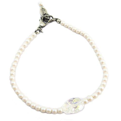 Lily-Crystal [P6678] - Handgefertigtes armband 'Tsarine' pulver weiß weiß boreal silber (skarabäus)- 3 mm, 11x8 mm. - Die Lily, Elf-prinzessin