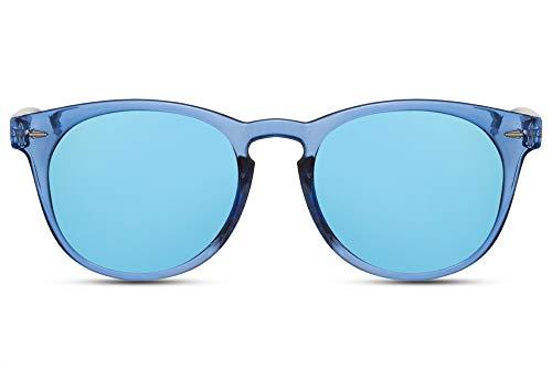 Cheapass Sonnenbrille Rund Blau Transparent UV-400 Festival-Brille Hipster Plastik Damen Herren