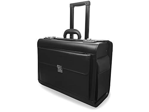 Roamlite Pilotenkoffer mit 2 Rädern Handgepäckgröße Reisekoffer für Business mit Zwei Zahlenschlössern in PU Kunstleder Optik - für Damen und Herren - schwarz RLPC9142K -