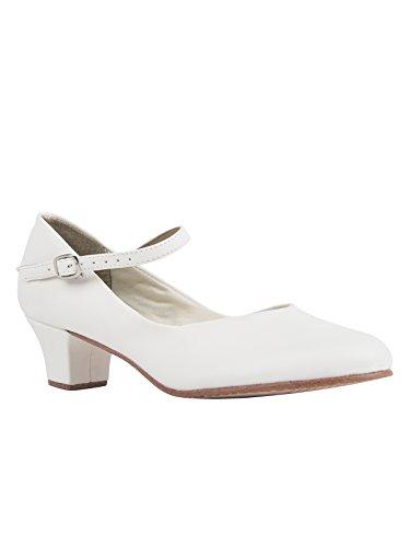 Só Dança CH50 chaussure de caractère Danse Salon Salsa Rumba Latine Tango semelle en cuir couleur blanc talon 3,8 cm avec pin gratuit blanc