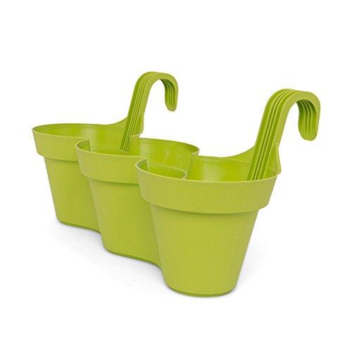 dmail – Jardinière 3 Pots de balcon – Vert