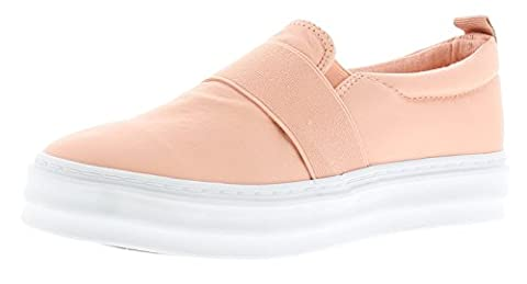 New Ladies/Womens Nude/White Henleys Tomo Slip Ons Canvas Shoes - Nude/White - UK SIZE 4