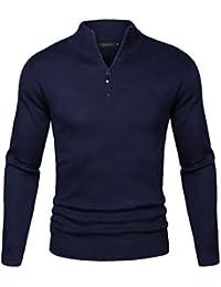 Sykooria Langram Regular Fit - Jersey de Punto Grueso para Hombre con Cuello Alto y Cremallera