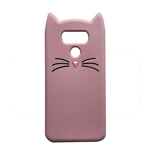 LG G6/LG G6Plus Fall, ifunny Cute 3D Cartoon Tiere Fortune Bart Katze stoßfest und Schutz-Soft Silikon Rubber Handy Case für LG G6(2017)/LG G6Plus, Pink Beard Cat