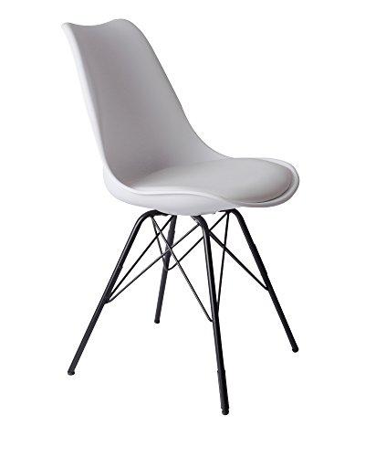 SAM Schalenstuhl Lerche, weiß, integriertes Kunstleder-Sitzkissen, schwarze Metallfüße, Esszimmerstuhl im skandinavischen Stil (Weiß Polsterstuhl)