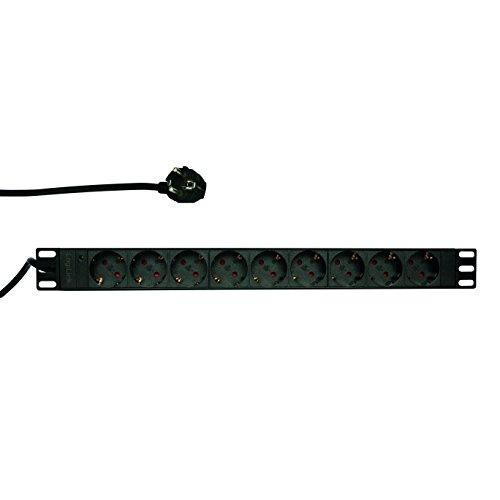 LogiLink Professional PDU9C03 Hochwertige 19' Steckdosenleiste 9-Fach CEE7/3 (Schutzkontakt) Schwarz