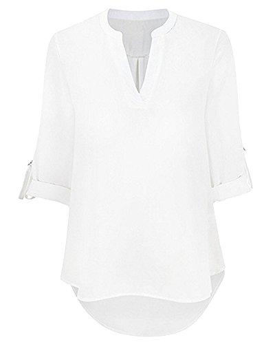 Femme Chemise Col V Top Shirts Haut Blouse T-shirt Blanc
