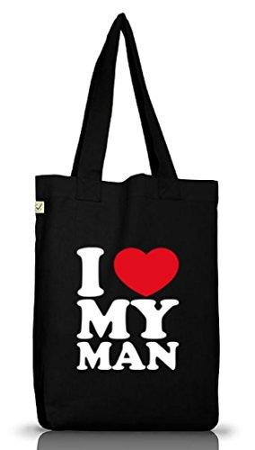 Shirtstreet24, Amo Il Mio Uomo, Il Giorno Di Padre Valentines Day Borsa In Tessuto Di Juta Terra Nera Positiva