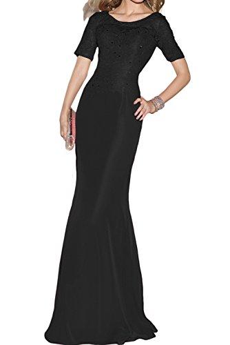 Toscana sposa donna rotondo Etui pizzo chiffon manica corta sera vestiti lungo Party vestiti prom abiti Nero