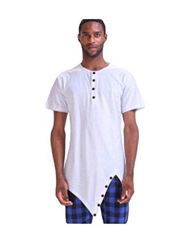 Bestgift Herren kurzarm Tee T-shirt Asymmetrische Shirt Weiß