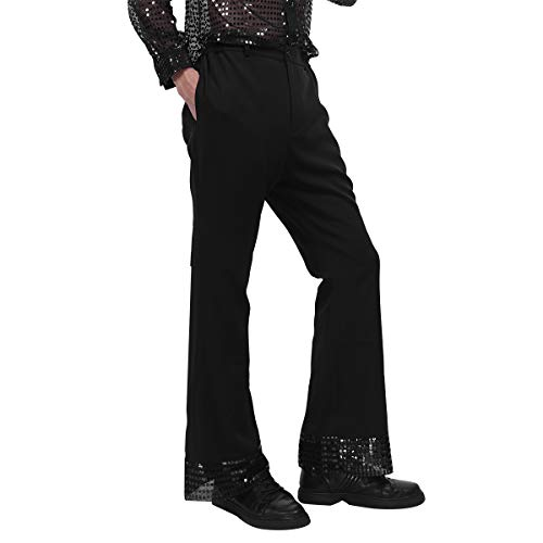 YiZYiF Herren Schlaghose 1970er Jahre Kostüm Lange Hose Pants Tanz Latin Hose Fasching Karneval Cosplay Halloween Kostüm Performance Schwarz 3X-Large
