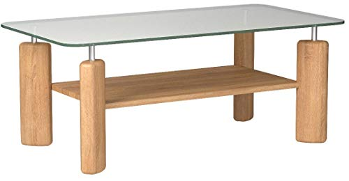 Amazon Brand –Alkove Hayes Solid Wood 1-Shelf Coffee Table with Glass Table Top, 100 x 65 x 44cm, Glass/Wild Oak