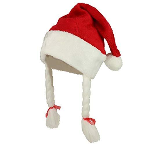 YEMOCILE Frauen Vlies Weihnachtsmütze mit Zopf Pigtails Cute Funny ()