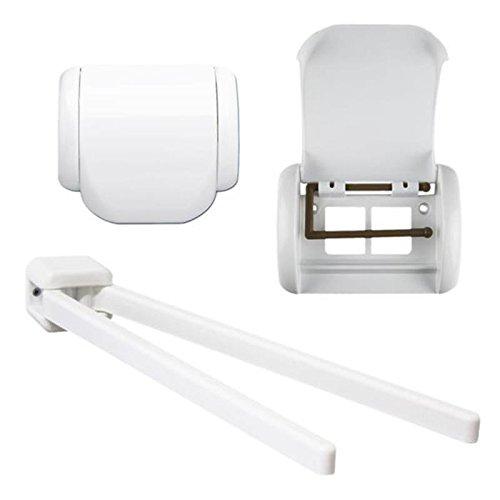 Set Handtuchhalter mit zwei parallel verlaufenden beweglichen Armen und Toilettenpapierhalter . Bad , Badezimmer Handtuch Halter mit 2 Arme und WC Papier Halter , Kunststoff Farbe weiß