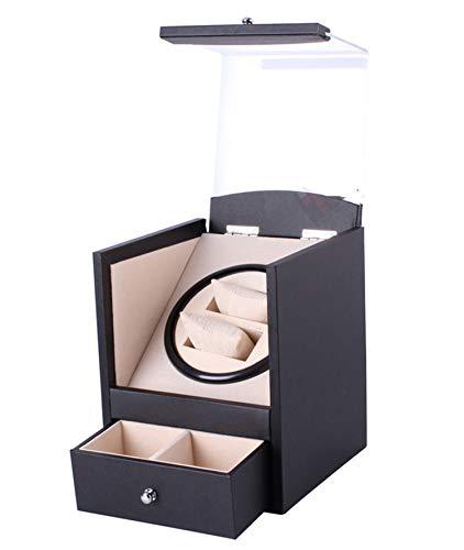 QHCGOOD Automatische Uhrenbeweger , Mann Dual Uhrenbeweger aus Holz Super leise rotierende Uhren Display Aufbewahrungskoffer Box Geschenk 175 * 180 * 210mm