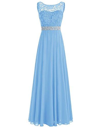 CLLA dress Damen Abendkleider Lang Elegant Perlen Taille Maxikleid Partykleider Brautjungfernkleider Spitze Festkleider(Hellblau,52) - Ballkleid Light