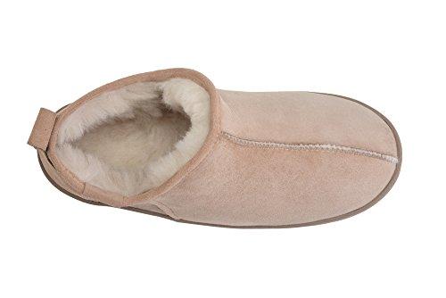 Hommes Luxe Peau De Mouton Pantoufles Chaussons Chaussures Avec Doublure Chaud Laine Beige / Blanc