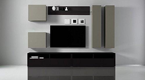Sodani parete attrezzata mobili soggiorno 4 mobili sospesi 2 mobili tv 1 mensola in melamina 278x41x205cm boost antracite e beige