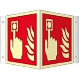 Winkelschild: Brandmelder nach ISO 7010 HIGHLIGHT PVC 20 x 20cm mit 4 Bohrungen à 3 mm Ø Leuchtdichte: HIGHLIGHT 48 mcd/m² gemäß ISO 7010, F005