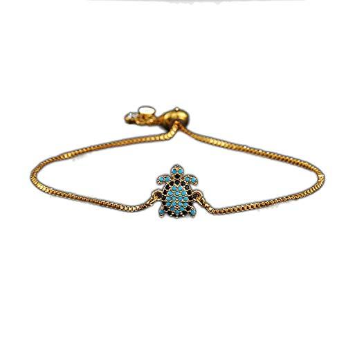 Schildkröten-Armband, verstellbare Kupferkette, silber/gold/schwarz, Trendy, Glücksarmbänder, Geschenk für Geburtstag Einheitsgröße Gold-Color