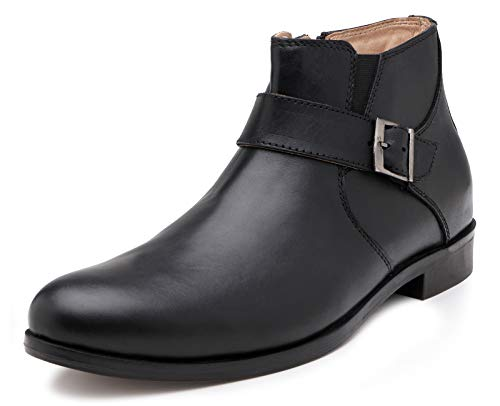 Escaro Men's Black Genuine Leather Boots(ES4064HF_Black_10)