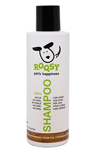 ROQSY Natur Hundeshampoo vegan Naturshampoo für Hunde Aller Rassen, Größen und Fellfarben; gegen Geruch, für weisses Fell, Naturprodukt, auch für Welpen und Sensible Haut 200ml (1 x 200 ml)