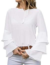 FIRSS Frauen Trompetenärmel Tops   Ruffles Shirt   Einfarbig T-Shirt    Rundhals Hemd   Geschnallt Oberteile   Weich… 62d806c653