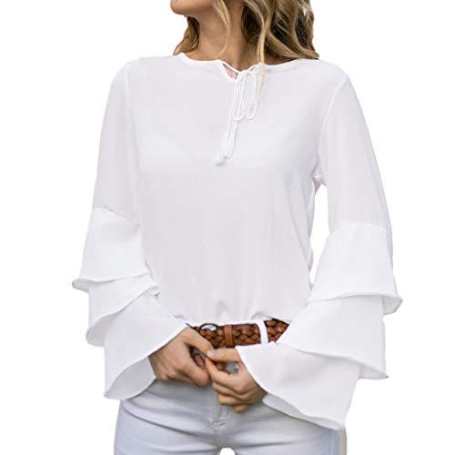Langram Bluse Langarmshirts Rosennie Damen Mode Quasten Hemdshirt Frauen beiläufige Oberseiten Tops Langarm Hemdbluse Tunika Oberteil Reine Farbe Trompete Ärmel Strappy Elegant T-Shirt(Weiß,S)