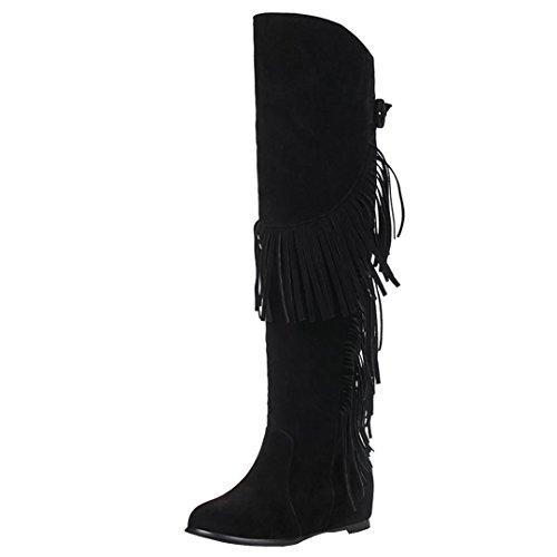 AIYOUMEI Damen Keilabsatz Kniehohe Stiefel mit Quasten und Schnalle Winter Warm Wildleder - Warm Kniehohe Wildleder Stiefel Schwarze