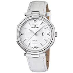 Candino Women's Quartz Watch with White Dial Analogue Display and White Leather Strap C4524/2