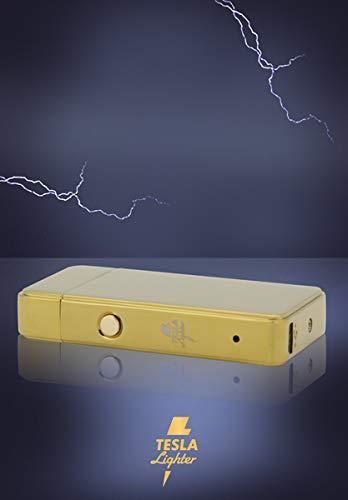 TESLA Lighter T11 Lichtbogen Feuerzeug, Plasma Double-Arc, elektronisch wiederaufladbar, aufladbar mit Strom per USB, ohne Gas und Benzin, mit Ladekabel, in Edler Geschenkverpackung, Gold
