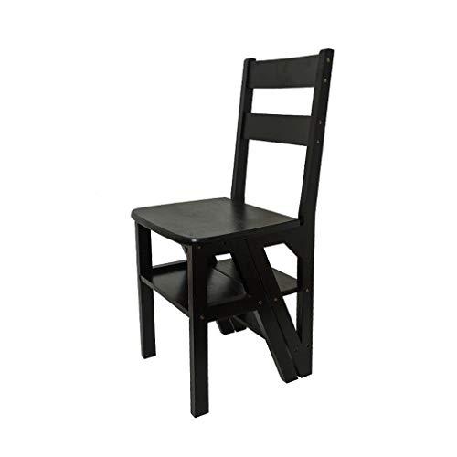 Klappleiter Aus Holz Hocker Stuhl Dual-Use-Multifunktionskletterleiter Nach Hause 4 Bockleiter (Color : Black Walnut Color)