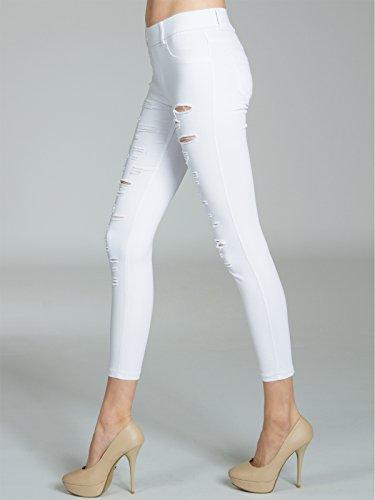 CASPAR KHS039 Damen Super Stretch Hose mit Rissen Weiß -ebridges.eu 6768bd1c7a