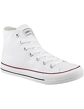 Elara Unisex Kult Sneaker   Bequeme Sportschuhe für Damen und Herren   High Top Textil Schuhe Chunkyrayan