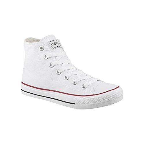 Elara Unisex Sneaker Sportschuhe für Herren Damen High Top Turnschuh Textil Chunkyrayan 019-A-Weiss-42